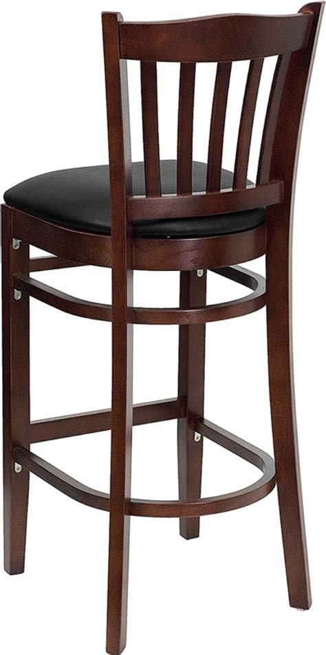 Commercial Wooden Bar Stools by Hercules Commercial Mahogany Wooden Vertical Slat Crown
