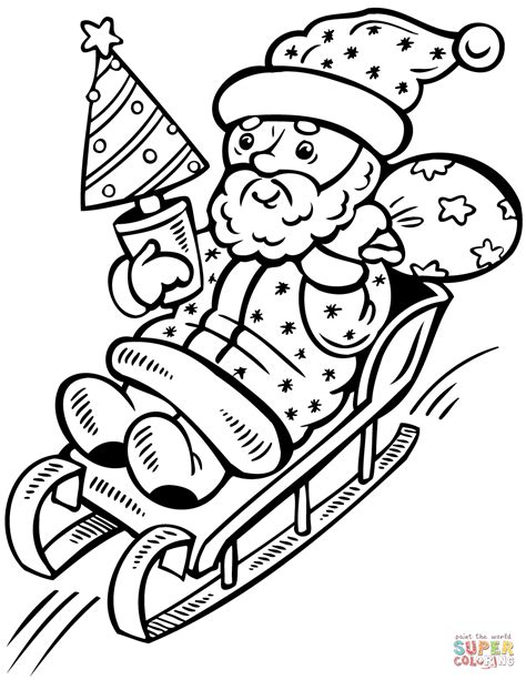 christmas tree with santa claus coloring page santa claus on sleigh with christmas tree coloring page