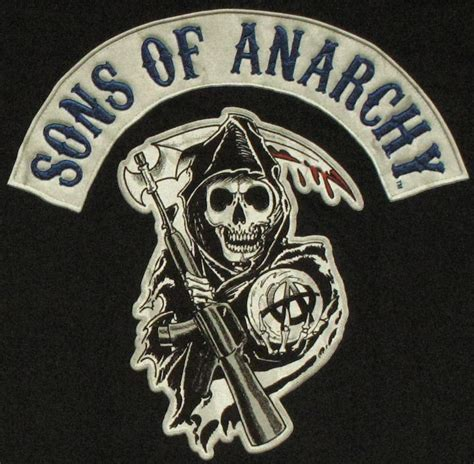 sons of anarchy faux patch black t shirt