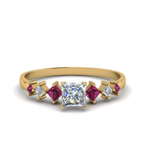 princess cut kite set ring with pink sapphire in