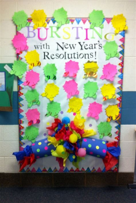 new year board decoration bursting with new years resolutions bulletin board