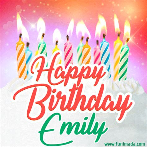 happy birthday gif  emily  birthday cake  lit candles   funimadacom