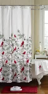 flock of cardinals bird evergreen bathroom fabric shower