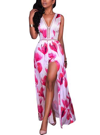 Maxi Set Vinoti Blue s 2 set floral maxi dress build in shorts slit white blue