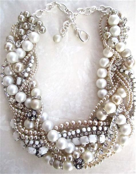 chunky pearl rhinestone necklace made to order white