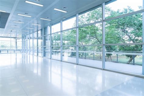 Glass Box Architecture by Blurred Abstract Background Interior View Looking Out