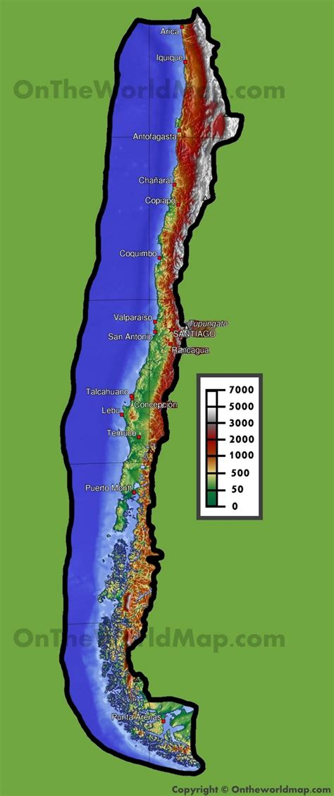 physical map of chile chile physical map