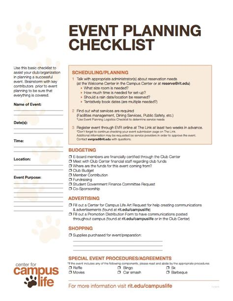 event safety plan template event planning checklist logistics center for cus