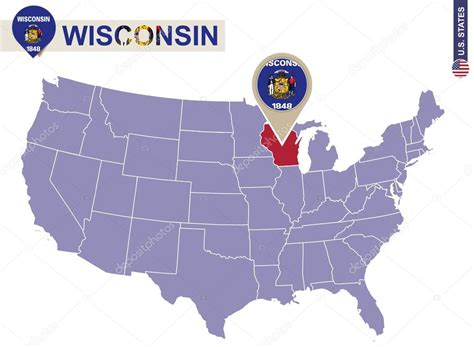 usa map states wisconsin wisconsin state on usa map wisconsin flag and map