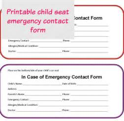 printable emergency contact form for car seat just me regina