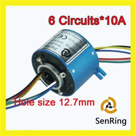 Socket Skun Joint Slip Connector 6mm electrical rotary joint connector 6 circuits 10a of bore size 12 7mm through slip ring in