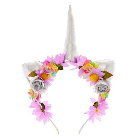 unicorn flower crown headband claire s us