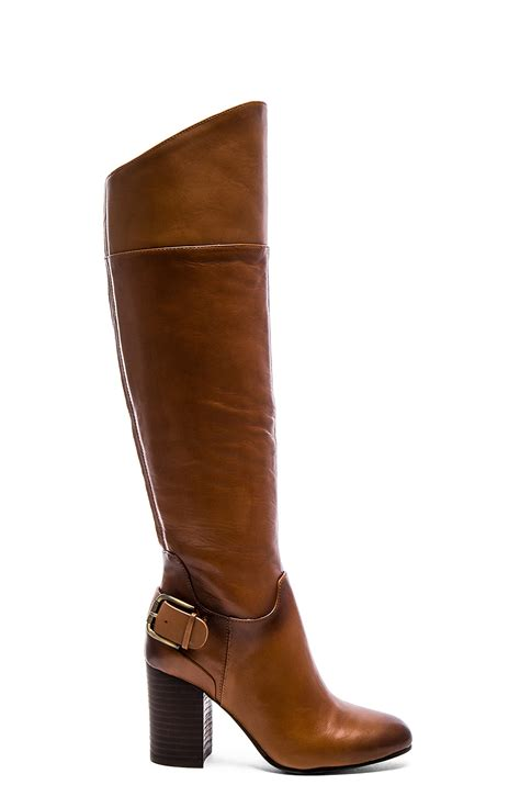 vince camuto boots lyst vince camuto sidney knee high boots in brown