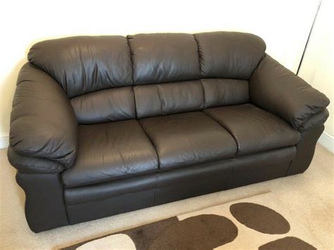 3 and 2 seater brown leather sofas in warrington