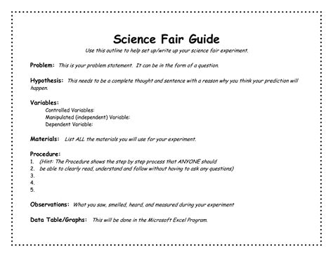 science fair project template science fair project outline template academic outreach