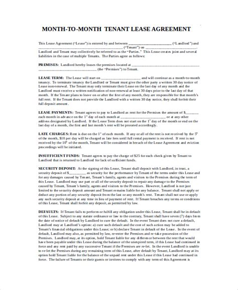 month to month lease agreements sle month to month lease agreement 7 exles in