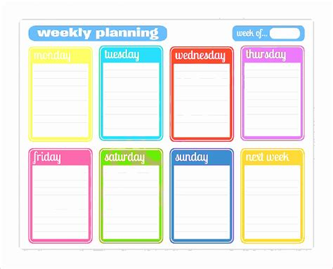 weekly agenda template 6 weekly agenda template excel exceltemplates
