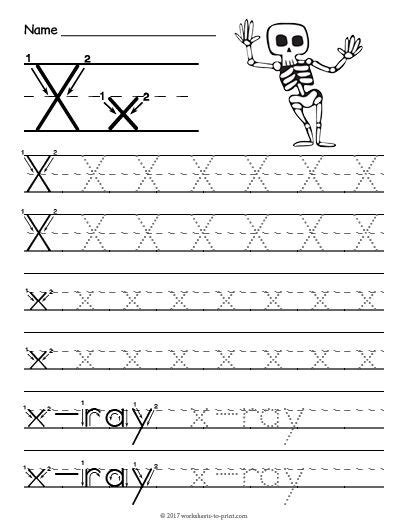 free printable tracing letter x worksheet tracing