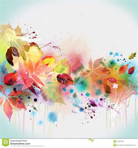 ano bagnato floral autumn design watercolor painting stock