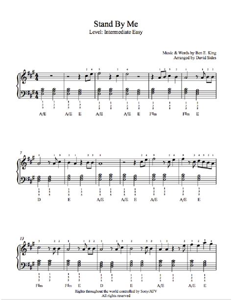 standoff music stand by me by ben e king piano sheet music