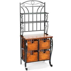 Walmart Bakers Rack Furniture Iron Wicker Baker S Rack Walmart