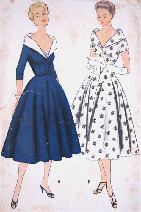 vintage patterns 1950s a 1849940940 vintage 1950s grace kelly evening dress pattern shawl collar low v neck fitted bodice flared