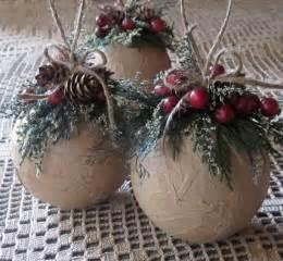 rustic ornaments set of three ornaments woodland