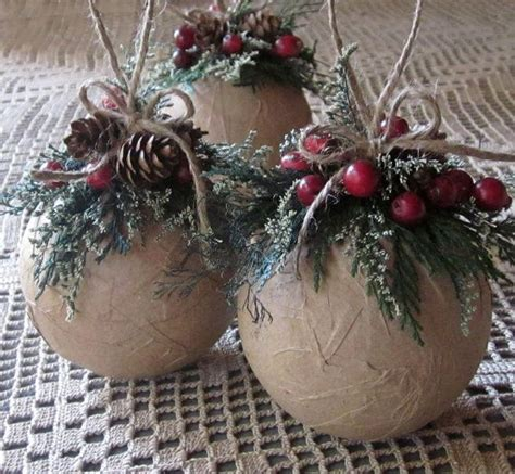 rustic ornaments set of three ornaments woodland