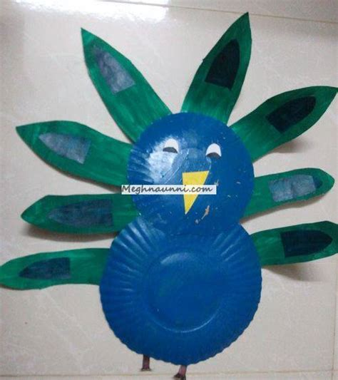 Peacock Paper Plate Craft - peacock using paper plate