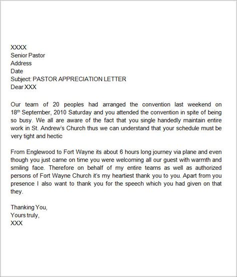 pastor appreciation letter to church thank you letters for appreciation 9 free