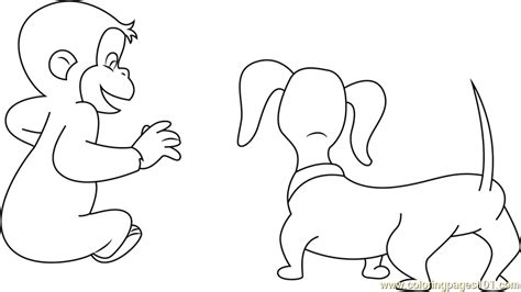 curious george with dog coloring page free curious