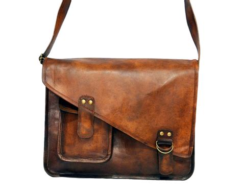 Handmade Briefcase - vintage leather messenger bag for and 15 quot x 11 quot x 4 quot