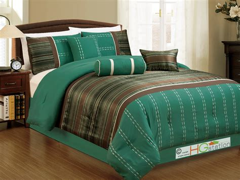 teal and brown comforter set 7 pc woodland jacquard striped embroidery comforter set