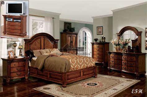 Wooden Bed Sets New 4pc Bellagrand Formal Tobacco Oak Wood Low Profile King Bedroom Set Ebay