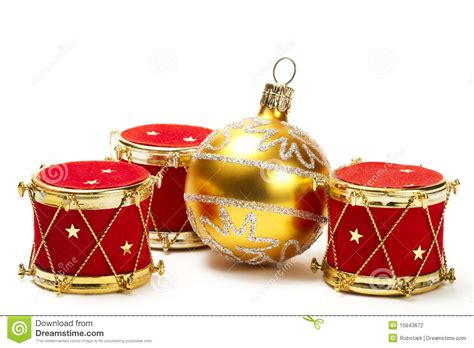 christmas ball and red drum ornaments stock photography