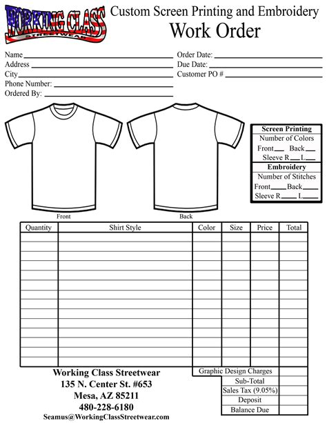 screen printing template click here for printable order form quotes
