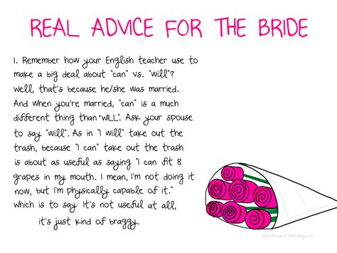 Wedding Advice Poem by Advice For The This Is Not That