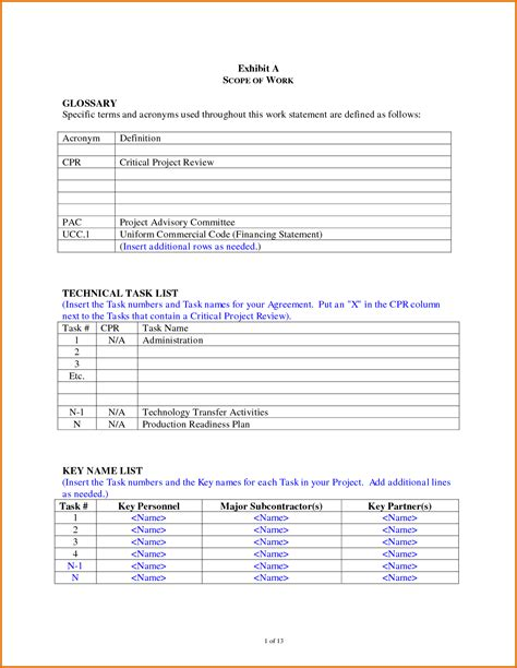 scope of work word template 8 scope of work templatereference letters words
