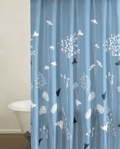 100 cotton shower curtain perry ellis asian lily blue 100 percent cotton shower