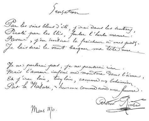 arthur rimbaud sensation po 232 me avec manuscrit