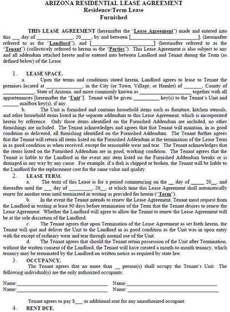 arizona residential tenancy lease agreement arizona rental