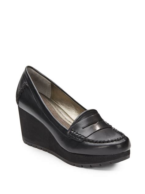 black wedge loafers tracy jassie wedge loafers in black lyst