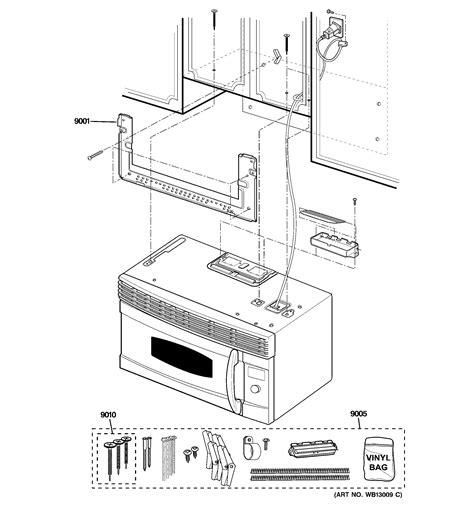 ge microwave parts diagram installation parts diagram parts list for model