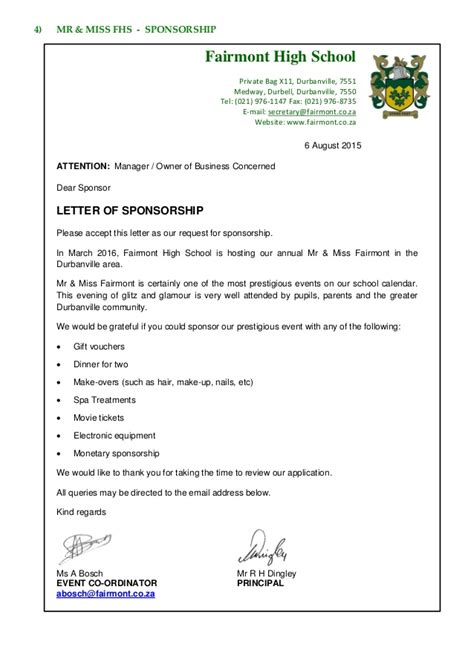 Sponsorship Letter For Netball Team Fairmont Focus 28 03 September 2015