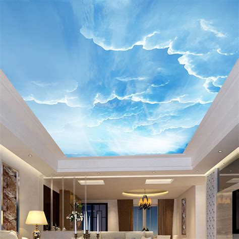 Sky Ceiling by 3d Wall Mural Sky White Clouds Custom 3d Photo Wallpaper