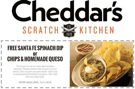 cheddars scratch kitchen coupons free spinach dip or