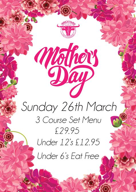 Mothers Day Poster Mothers Day The Brickyard Bar Grill