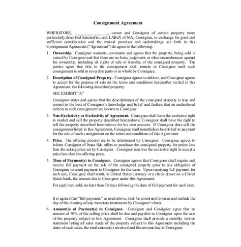 13 consignment agreement templates free sle exle