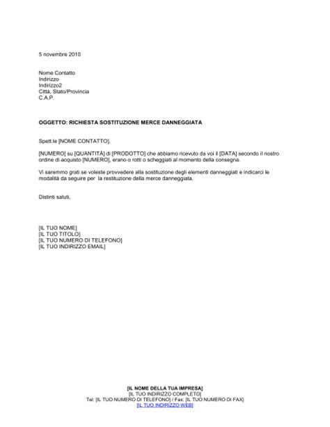 ufficio commerciale in inglese richiesta sostituzione merce danneggiata modelli e