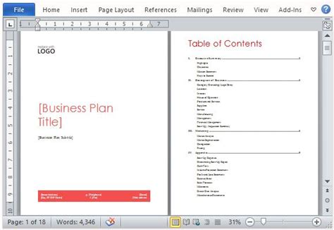 Template Microsoft Word Business Plan | business plan template for microsoft word